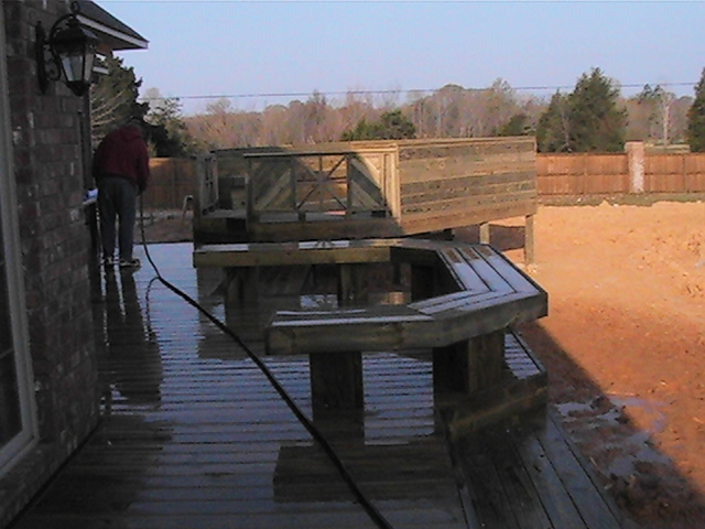 deck and spa area made of preasure treated wood