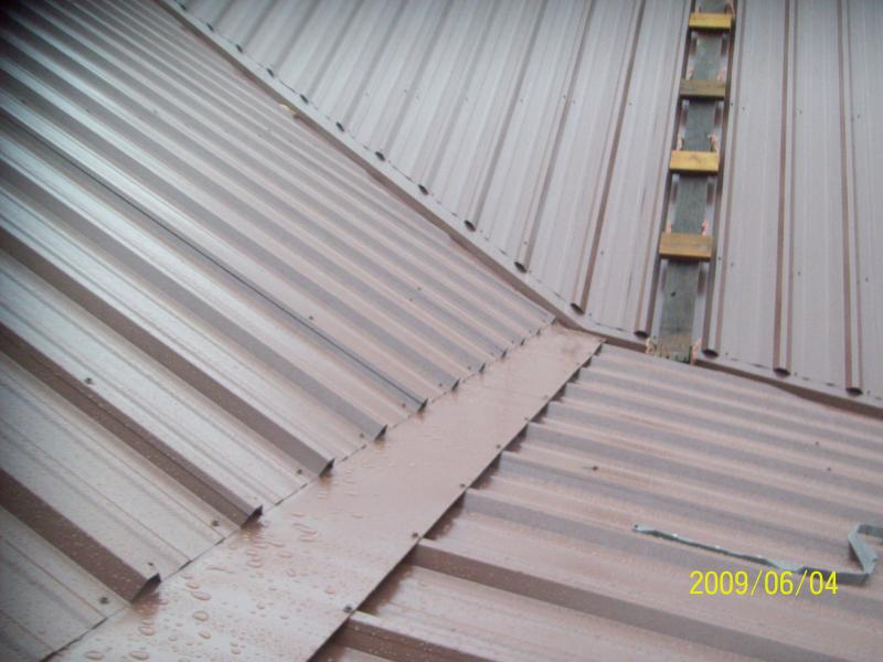 metal roof under construction close up