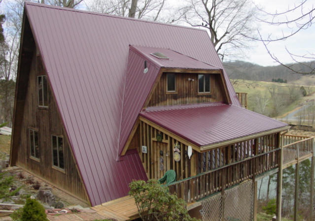 custom metal roof system on A frame house