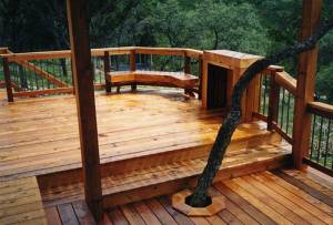 cedar deck with rails and benches