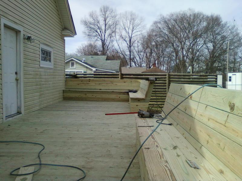 Angle Back Benches on Pressure treated Deck