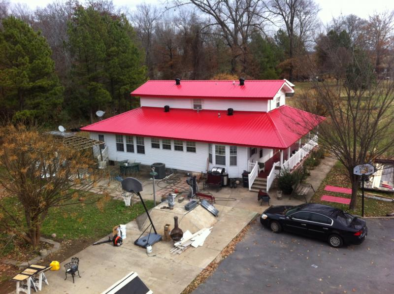 Metal Roof Searcy Arkansas, Bright Red Metal Roof, Low Rib Metal Roof