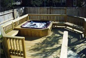 custom deck built around hot tub